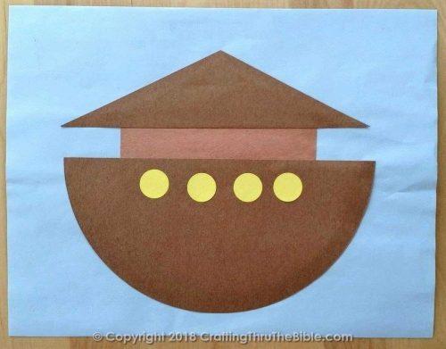 Noah's Ark Craft on Blue Paper